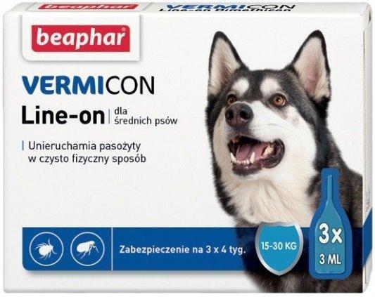Beaphar Vermicon Line-On Dog M - krople przeciwko ektopasożytom dla średnich psów 3x3ml