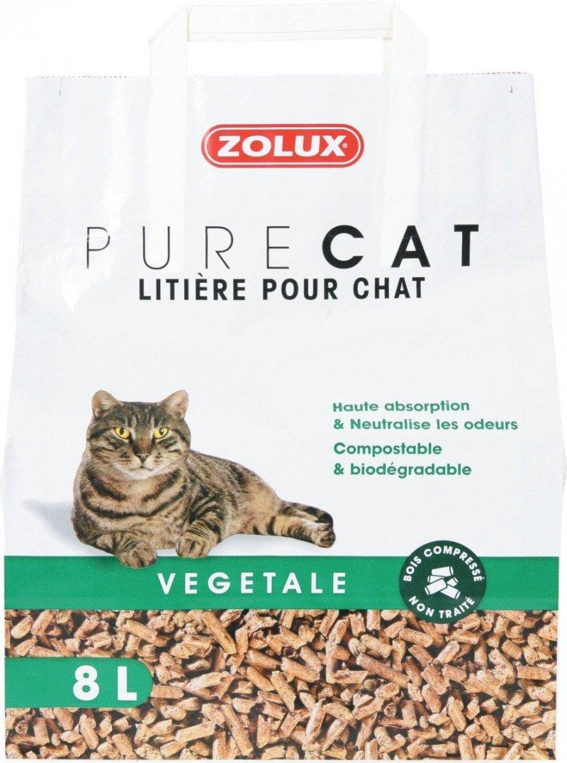 Zolux Pure Cat - Żwirek roślinny dla kota - naturalny, niezbrylający  8l x 8 szt