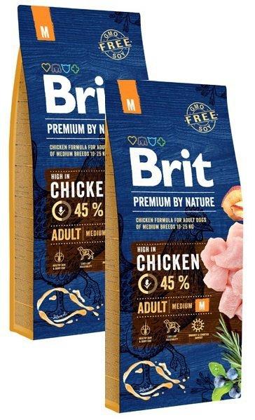 Brit Premium By Nature Medium Adult M 2x15kg