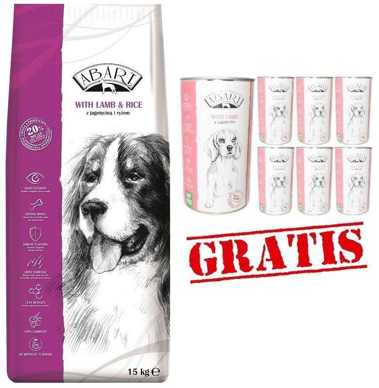 Abart Dog Lamb & Rice 20% Meat- Pełnoporcjowa karma z jagnięciną i ryżem 15kg +12 puszek Abart 1240g GRATIS