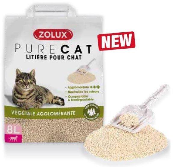 Zolux Pure Cat - Żwirek roślinny dla kota - naturalny, zbrylający 8l