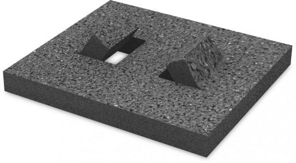 K2 płyta ochronna gumowa pod szyny dachu płaskiego, 160x180x18 mm, bez folii aluminiowej (izolacja bitumiczna)