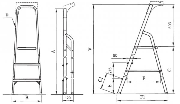 Drabina domowa aluminiowa ALW02