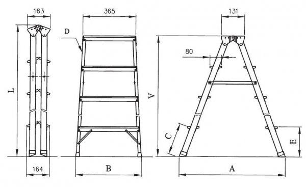 Drabina domowa aluminiowa DHR03