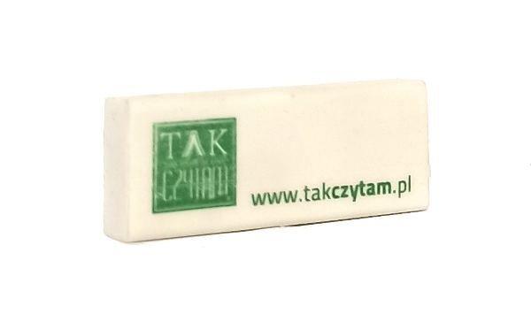 Gumka Takczytam.pl z logo