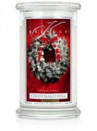 Kringle Candle - Christmas Stroll - duży, klasyczny słoik (623g) z 2 knotami