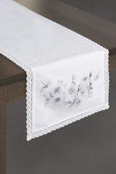 Obrus ALYSSA Biało Srebrny 40X140