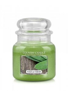 Country Candle - Sage and Cedar - Średni słoik (453g) 2 knoty