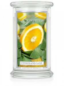 Kringle Candle - Citrus and Sage - duży, klasyczny słoik (623g) z 2 knotami