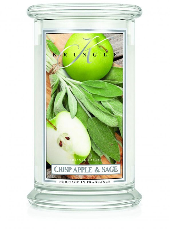 Kringle Candle - Crisp Apple & Sage - duży, klasyczny słoik (623g) z 2 knotami