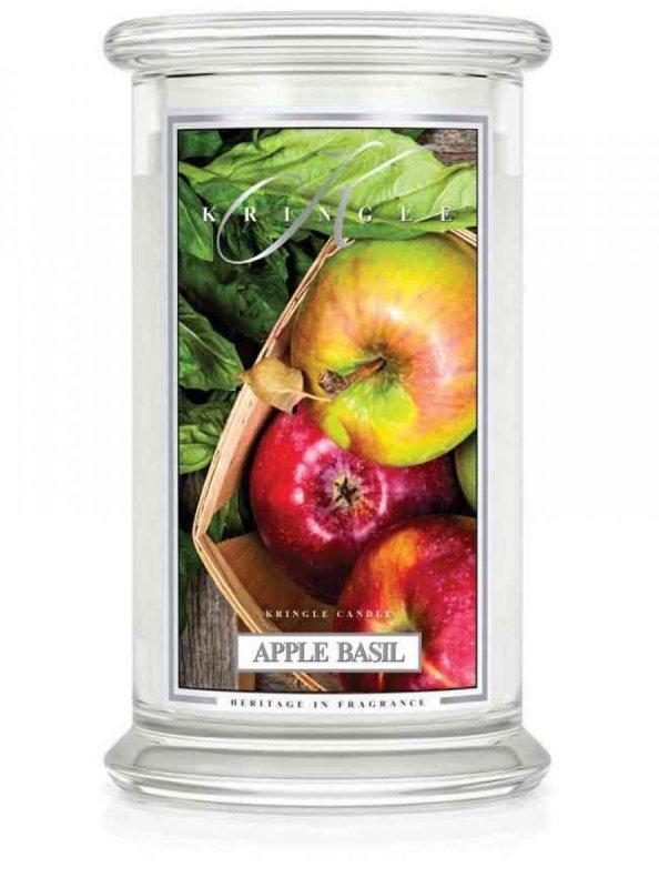 Kringle Candle - Apple Basil - duży, klasyczny słoik (623g) z 2 knotami