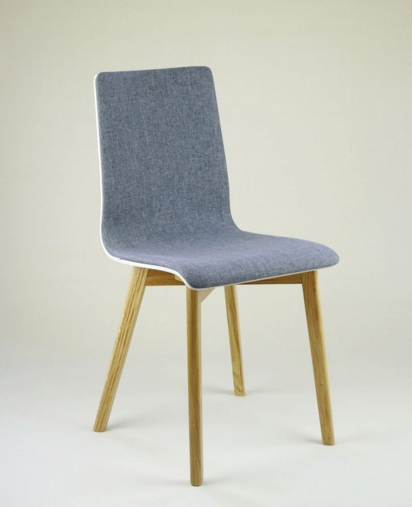LUKA SOFT W -  krzesło drewniane biało-szare dębowa rama