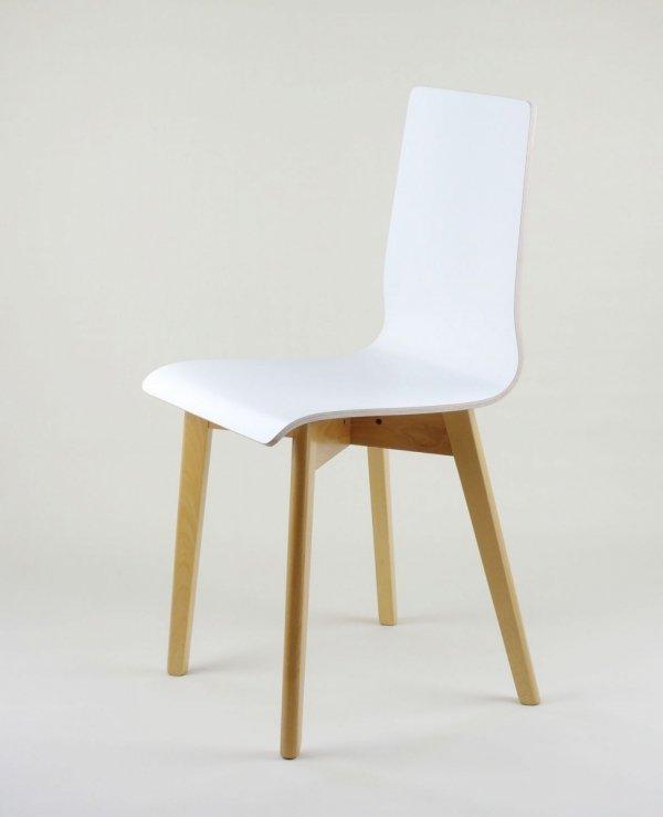 LUKA W - krzesło laminowane białe, bukowa rama