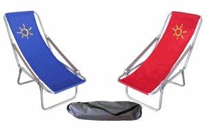 Leżak plażowy z bawełny, składany do pokrowca, podłokietnik pasek