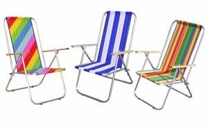 Wygodny Leżak plażowy aluminiowy dwupozycyjne rozkładane krzesełko