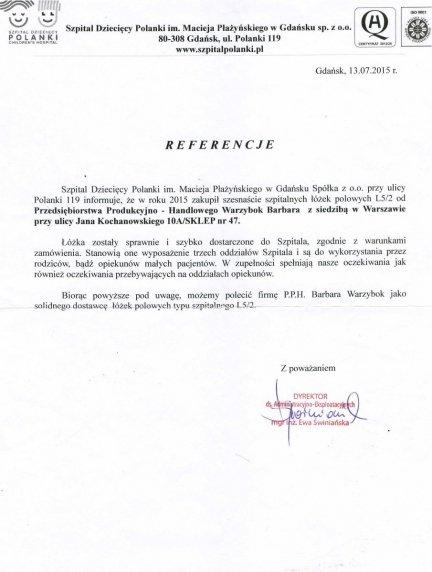 Referencje Szpitala Dziecięcego Polanki im. Macieja Płażyńskiego w Gdańsku