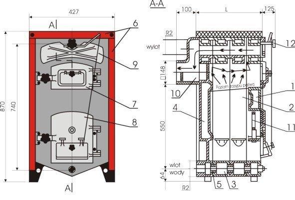 Kocioł żeliwny, piec KWD - Camino 3/5  - 12.56 KW Tylko na Eksport