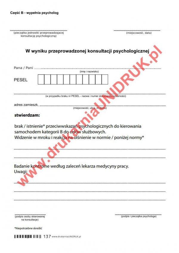 Orzeczenie psychologiczne dla kierowców kat.B - służbowo