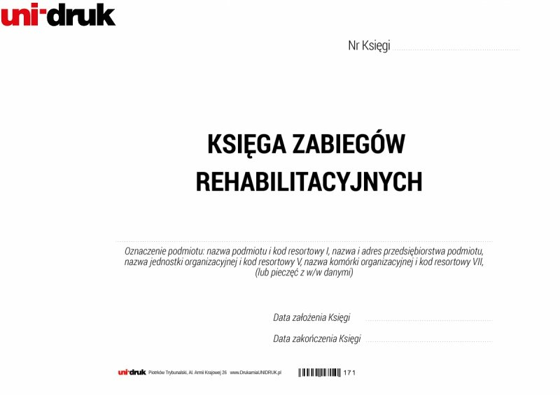 Księga Zabiegów Rehabilitacyjnych A4 - 100 kart