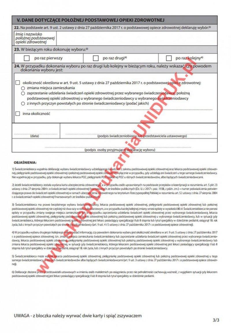 Deklaracja wyboru świadczeniodawcy - lekarz, pielęgniarka, położna
