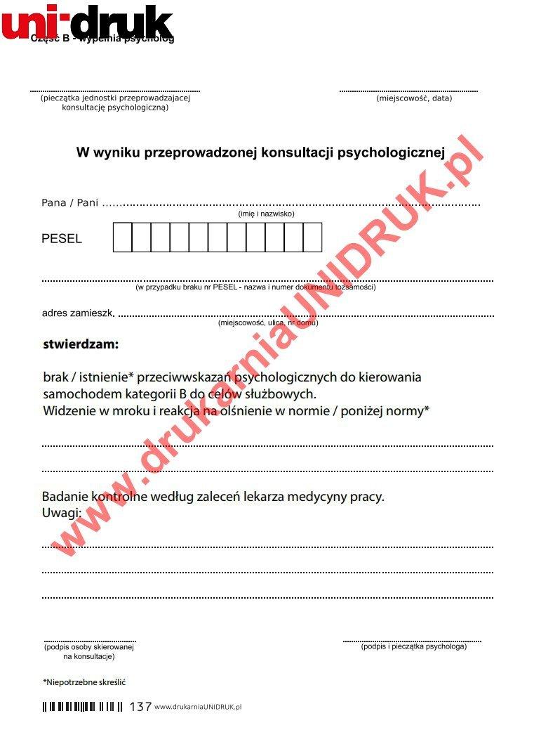 Orzeczenie psychologiczne dla kierowców kat.B - służbowo - druk