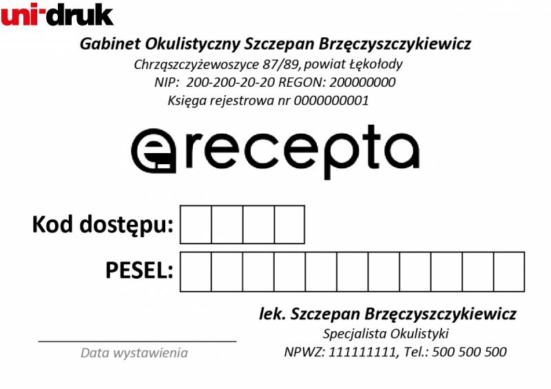 Potwierdzenie wydania e-recepty  - druk