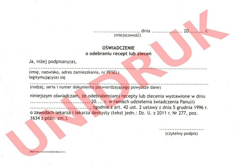 Oświadczenie o odebraniu recept lub zleceń