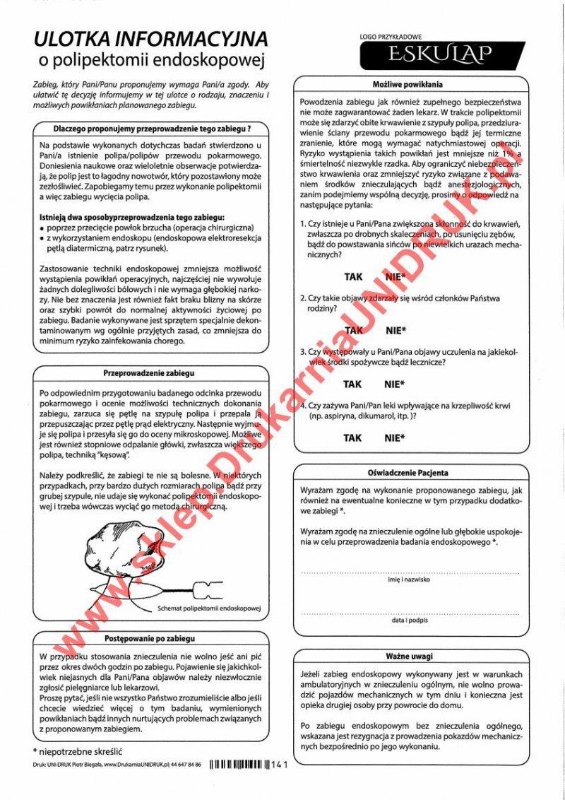 Ulotka informacyjna o polipektomii endoskopowej - druk