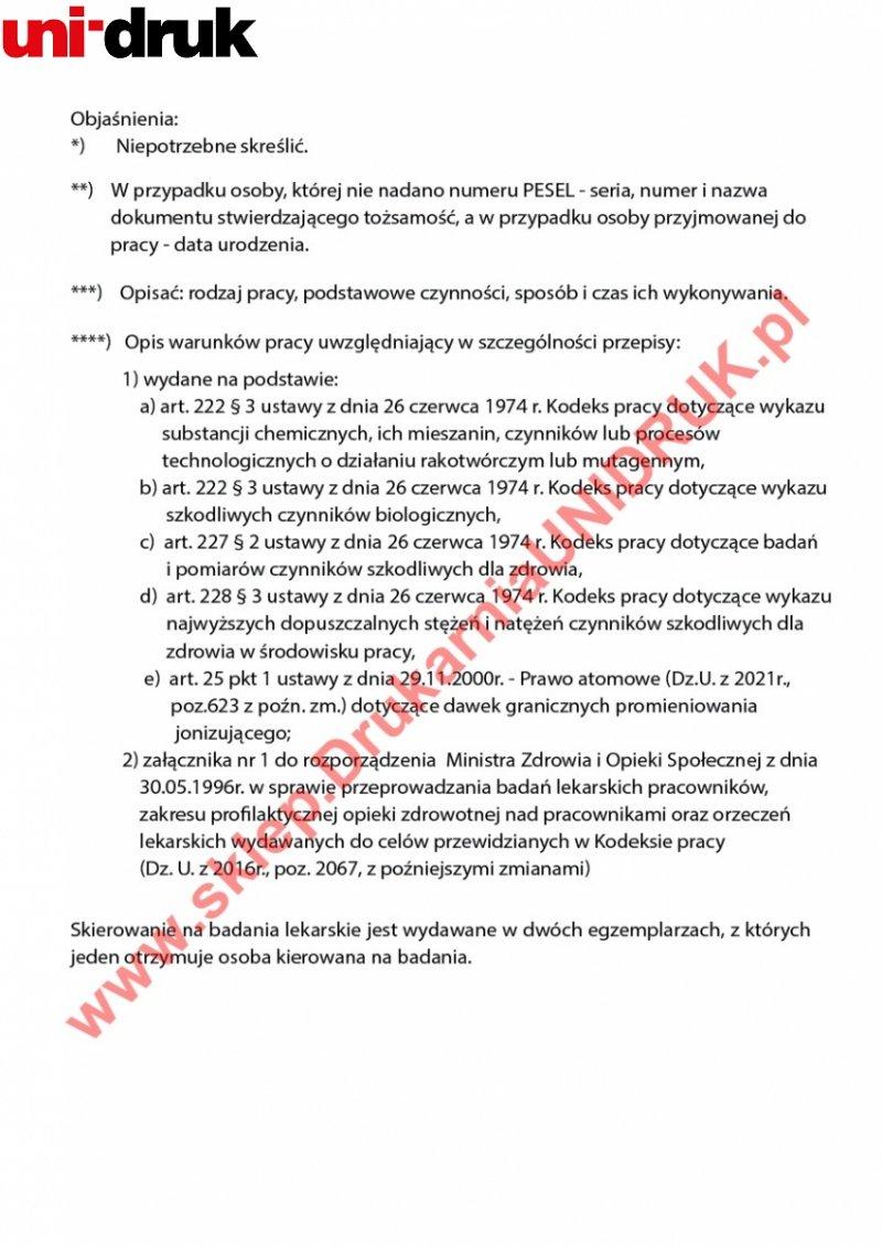 Skierowanie na badania (wstępne, okresowe, kontrolne) - druk