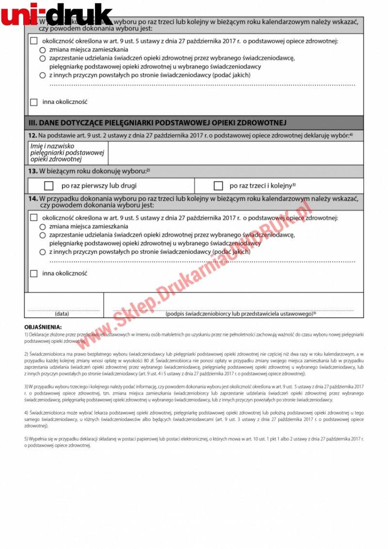 Deklaracja wyboru świadczeniodawcy - pielęgniarka - druk