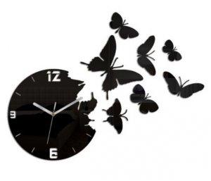 Zegar ścienny Motyl czarny szkło akrylowe