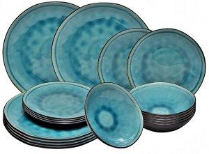 SERWIS obiadowy zestaw TALERZE 18 el BLUE LAGOON
