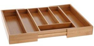 Wkład Bambusowy do szuflady POJEMNIK NA SZTUĆCE rozsuwany