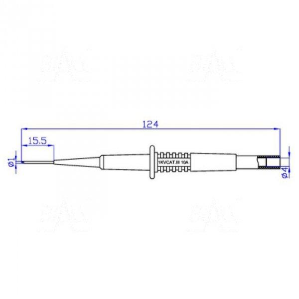 Sonda pomiar. gniazdo 4mm igła S155-R 1A CAT II 600V czerwony