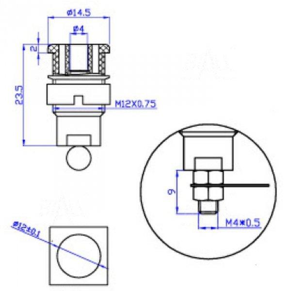 Gniazdo panelowe bezp. 4mm GLP301-R 32A CAT II 1000V czerwony