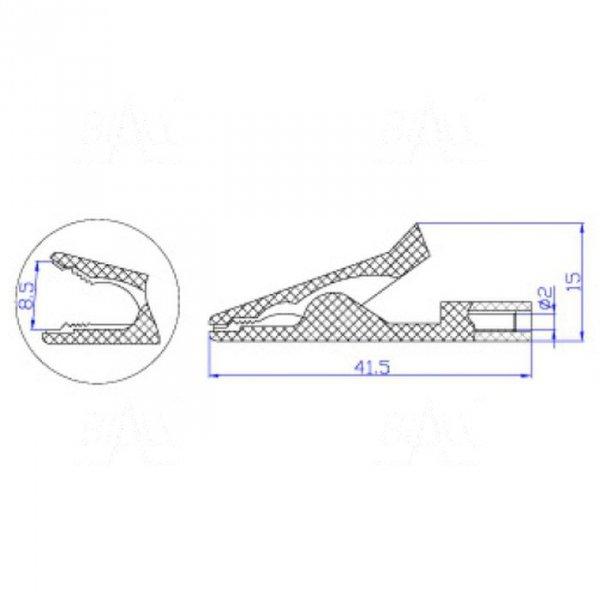 Krokodylek bezp. gn. 2mm KK187-R 50V=/30V~ 10A