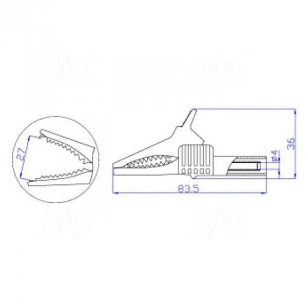 Krokodylek bezp. gn. 4mm KK262-BK CAT II 1000V 19A