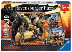 Ravensburger Puzzle 3X49 elementów Jak wytresować smoka