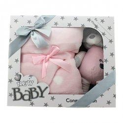 Axiom Zestaw New Baby grzechotką i kocykiem, różowy