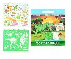 Symag Kolorowanka dino z naklejkami i szablonami Toi-Toys 46473 Top Designer