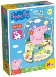 Liscianigiochi Puzzle Świnka Peppa Kształt - Peppa muzyk, 12 elementów