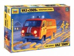 Zvezda Model plastikowy UAZ 3909 Samochód strażacki