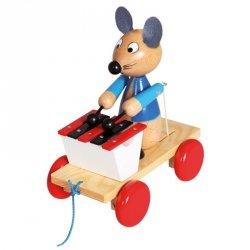 BINO Drewniana zabawka z ksylofonem Pociągnij za mysz