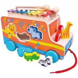 BINO Drewniany samochód z ksylofonem zwierzęta