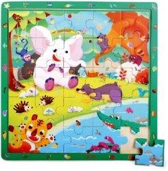 Brimarex Gra i puzzle drewniane TOP BRIGHT - Dżungla, 25 elementów