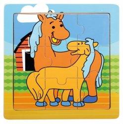 BINO Drewniane Puzzle Konie 9 elementów