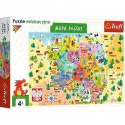 Trefl Puzzle 54 elementów Edukacyjne Mapa Polski