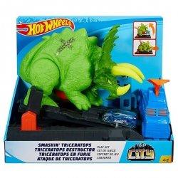 Mattel Hot Wheels City Starcie z Triceratopsem Zestaw