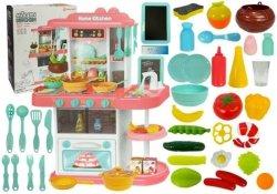 Kuchnia różowa dla dzieci 43 elementy para wodna