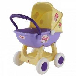 Duży wózek gondola dla lalek 43cm Wader QT Arina żółto fioletowy